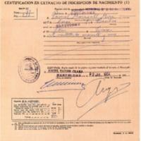 Certificat de naixement de Pasqual Maragall